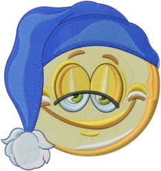 Good Night Emoticon embroidery design