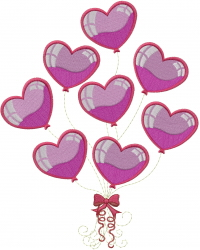 I Love You Balloons embroidery design