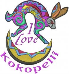 Kokpelli Rabbit Moon embroidery design