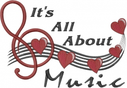 Musical Note Hearts embroidery design