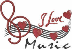 Musical Note Heart embroidery design