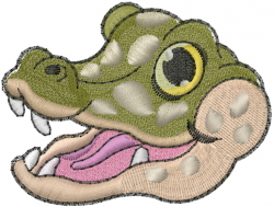 Baby Alligator Head embroidery design