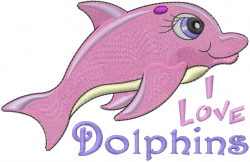 Baby Girl Dolphin embroidery design