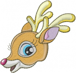 Baby Reindeer Head embroidery design