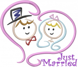Wedding Stick People embroidery design