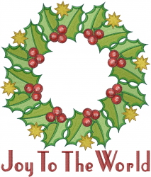 Christmas Holly  Wreath embroidery design