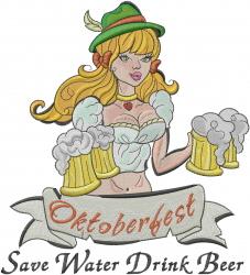 Oktoberfest Barmaid embroidery design