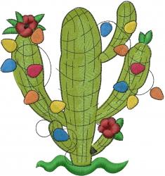 Southwest Christmas Cactus embroidery design