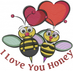 Valentine Bumblebees embroidery design