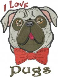 Valentine Pug embroidery design