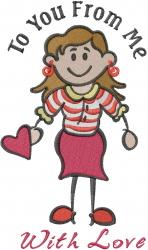 Valentine Stick Girl embroidery design