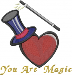 Valentine Top Hat embroidery design