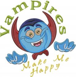 Vampire Dracula Emoticon embroidery design