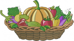 Fall Vegetable Basket embroidery design