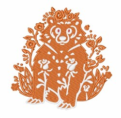 Floral Bear embroidery design