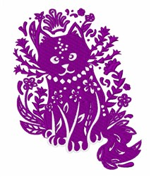 Floral Cat embroidery design