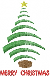 Christmas Tree MERRY CHRISTMAS Green embroidery design
