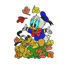Baby Donald & Pluto embroidery design