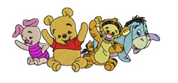 Pooh Bear Babies embroidery design