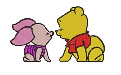 Large Pooh and Piglet embroidery design