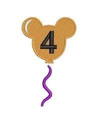 Mickey 4 Birthday Balloon embroidery design