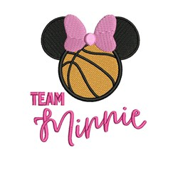Team Minnie Basketball embroidery design
