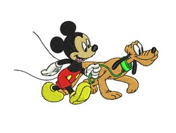 Mickey Walking Pluto embroidery design