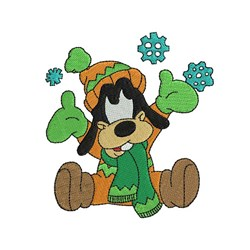 Goofy And Snowflakes embroidery design
