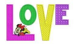 Love Minnie Mouse embroidery design