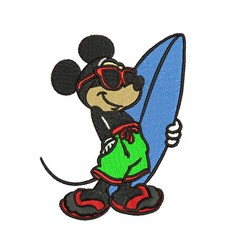 Mickey Mouse Surfer embroidery design