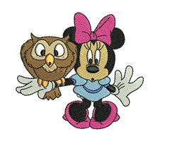 Minnie with Owl embroidery design