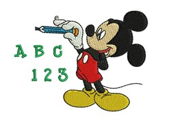 Mickey Mouse At School embroidery design