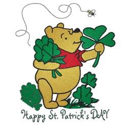 St Patricks Pooh embroidery design