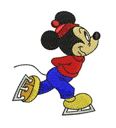 Mickey Ice Skating embroidery design