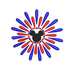 Mickey Fireworks embroidery design