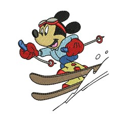 Mickey Mouse Skiing embroidery design