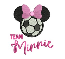 Team Minnie Soccer embroidery design