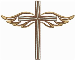 Cross and Angel Wings embroidery design
