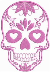 Decorated Pink Skull embroidery design