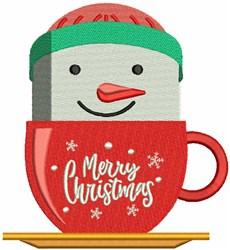Merry Christmas Snowman Mug embroidery design