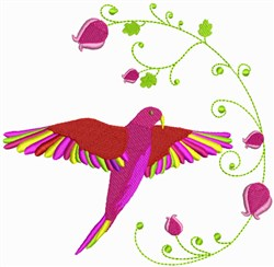 Tropical Bird & Flowers embroidery design