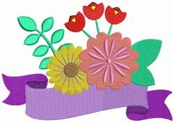 Flower Bouquet & Banner embroidery design