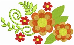 Colorful Fall Flowers embroidery design
