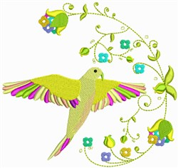Tropical Bird with Flowers embroidery design