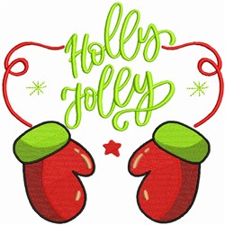 Holly Jolly Mittens embroidery design