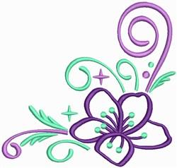 Hibiscus Corner Outline embroidery design