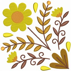 Yellow Daisy Floral Square embroidery design