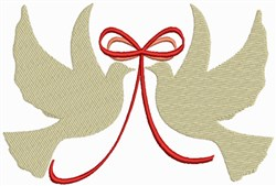 Wedding Doves with Ribbons embroidery design