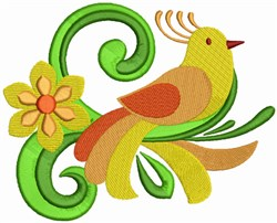 Colorful Bird & Flowers embroidery design