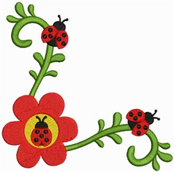 Lady Bug Corner embroidery design